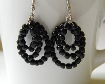 Black/Purple Layered Loop Earrings