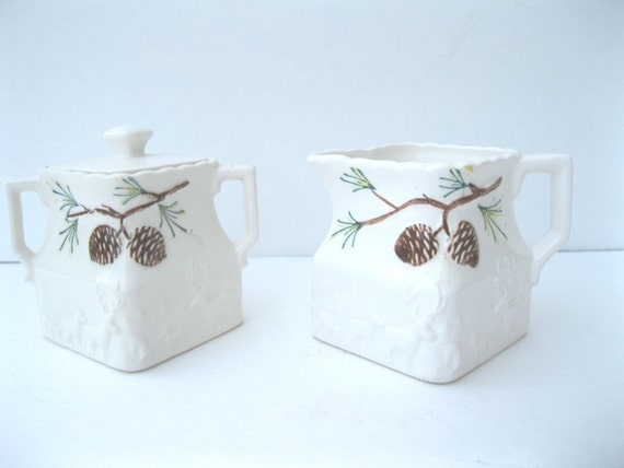 Vintage Cream And Sugar Set, White Ceramic with Pinecones and Deer