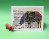 OINK PIG BOAR card on vintage paper