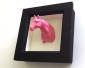 PIXIE the PINK PONY 3d taxidermy head animal horse trophy mount for your wall.