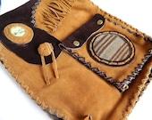 Artisan leather Book Bag-Peruvian Style-Fringe, serpentine stone, peruvian textile, boho bag