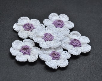 Made to Order Cotton Thread Crochet Flowers with 6 petals and spiral chain center in contrast colour