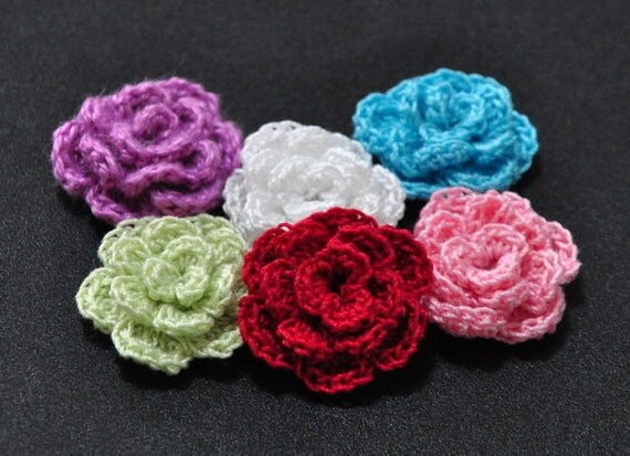 Custom Made to Order:  Cotton Thread Crochet Rose Flowers (Set of 6, choice of 6 colours)