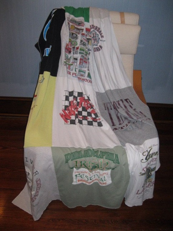 t shirt blanket, throw, memory quilt, 12 shirts, throw size, TOTAL PRICE!
