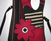 MEDIUM CANVAS BAG cross body bag -tote wallet purse- hip bag mixed fabrics in  Red-Black  Floral