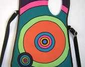 MEDIUM CANVAS BAG - colorful, mixed fabric, Rainbow with Circles