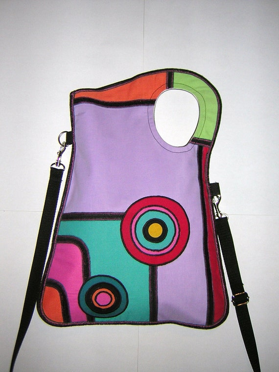 MEDIUM CANVAS BAG mixed fabrics in  Rainbow   with Circles