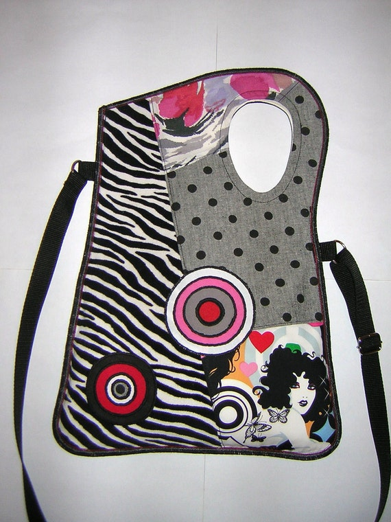 MEDIUM CANVAS BAG mixed fabrics in Black-White-Gray-Red-Pink  with Circles