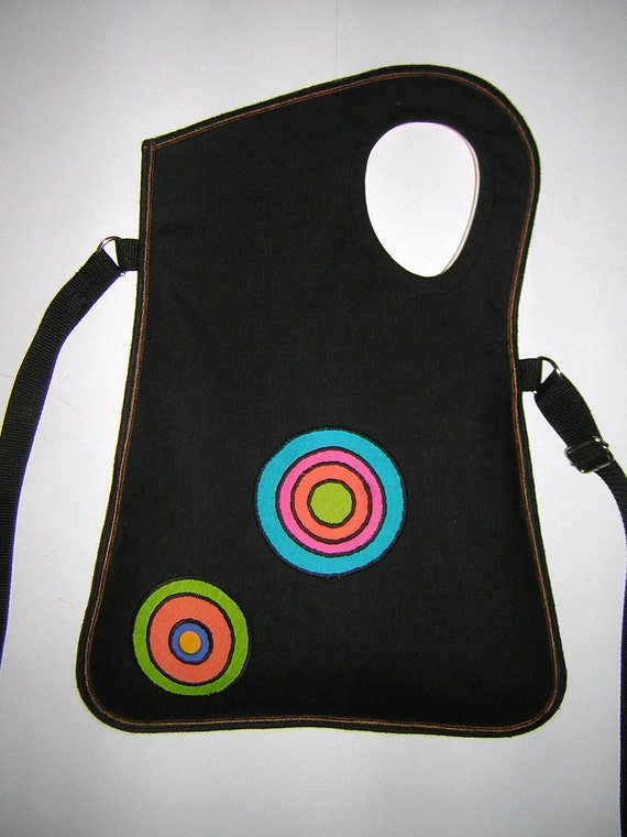 2in1 Medium Cotton Canvas Bag -cross body bag- hip bag- sling tote iPad case in Black-Coral   with colorful Circles