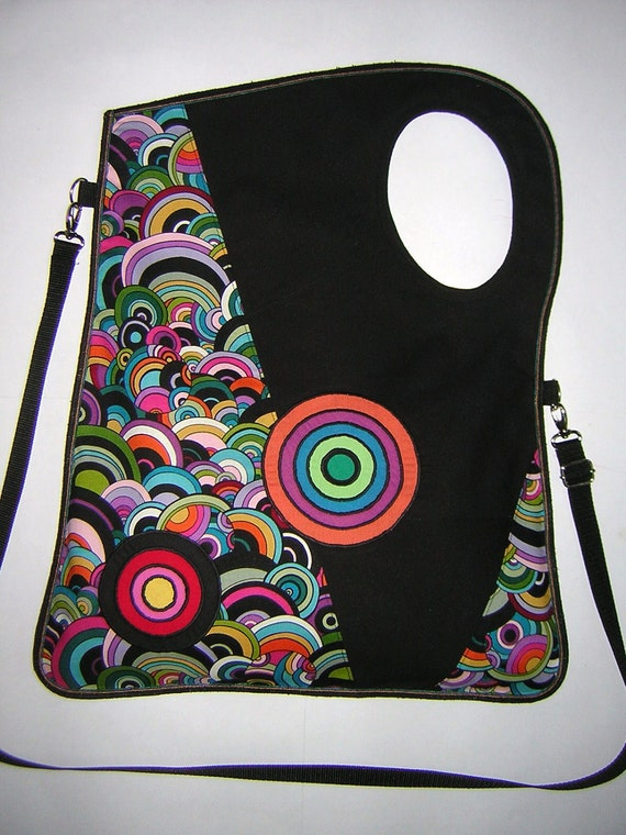 2in1 LARGE CANVAS BAG  mixed fabric  Black-Colorful-Rainbow   with Circles