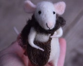 The Explorer mouse with bag and felted scarf - needle felted ornament animal, felting dreams by johana molina