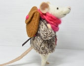 FIRTS PAYMENT of 3 - Little Traveler Mouse - unique - needle felted ornament animal, felting dreams made to order