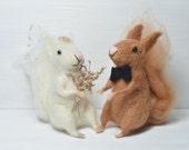 Wedding Squirrels - needle felted ornament animal, felting dreams by johana molina