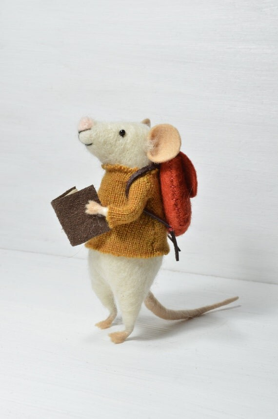 Little Traveler Mouse - unique - needle felted ornament animal, felting dreams made to order