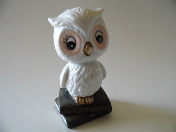 Vintage Figurine Knick Knack Owl on Books Miniature for Shelf or Collection