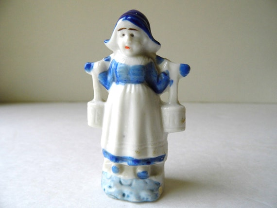 Vintage Knick Knack Holland Girl, Made In Japan, Porcelain, Miniature Figurine for Knick Knacks Shelf