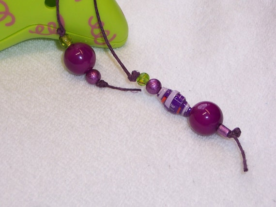 Paper Bead Bookmark - Purple and Green