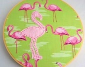 Hoop Art Flamingo, Pink and Green