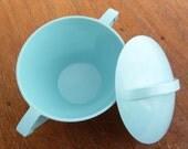 Mid Century Aqua Sugar Bowl with Lid, Mallo-Ware by Melmac