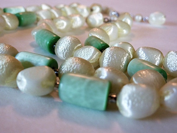 Vintage Double Strand Necklace, Pale Green, Textured Plastic Beads