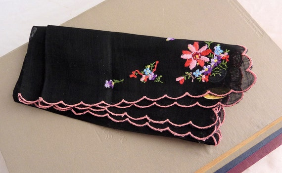 Vintage Black and Pink Roblee Hankie, Made in Switzerland, Never Used