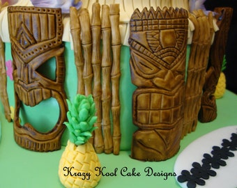 Tiki Mask Cake Toppers