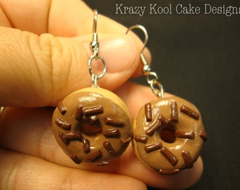 Maple Donut Earrings With Chocolate Sprinkles
