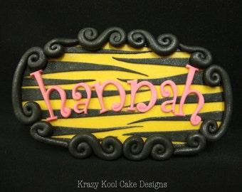 Customized Name Plaque Cake Decoration