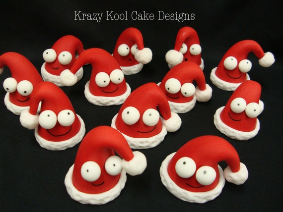 Santa Claus Hat Cake Toppers