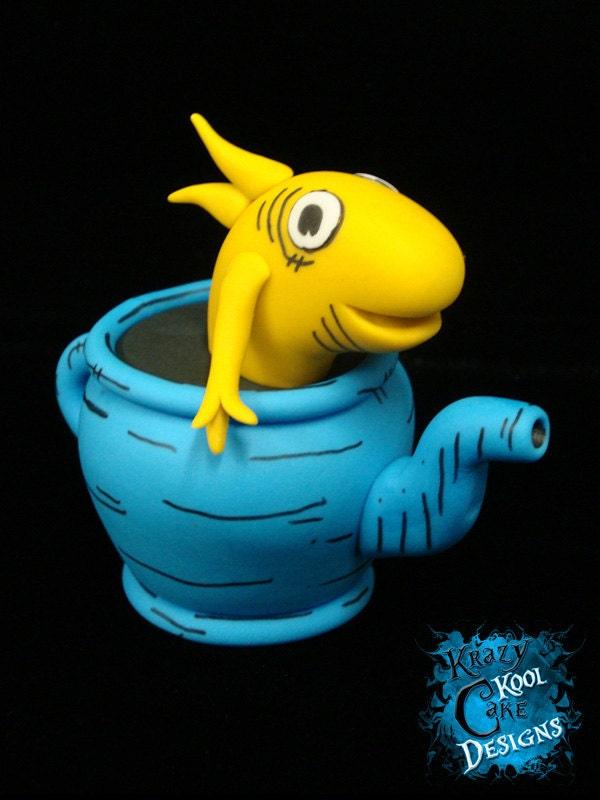 Dr. Seuss Fish In Teapot Cake Topper
