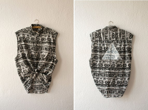 Blouse - black navajo / white - triangles