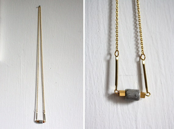 Necklace // gold / grey // cube