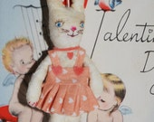 Spun cotton Valentine Vintage Craft bunny ornament OOAK: Let me call you sweetheart