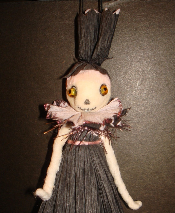 Spun Cotton Skeleton Girl Halloween Vintage Craft Ornament OOAK by jejeMae