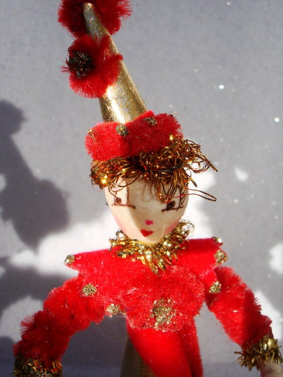 RESERVED for Stephanie Spun cotton ornament Vintage craft Girl with a Christmas Bell OOAK original art figure
