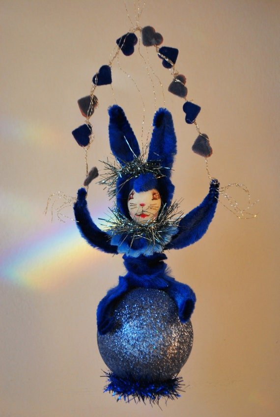 "Spun Cotton blue Valentine bunny Vintage Craft OOAK  ornament ""Tangled up in Blue"""