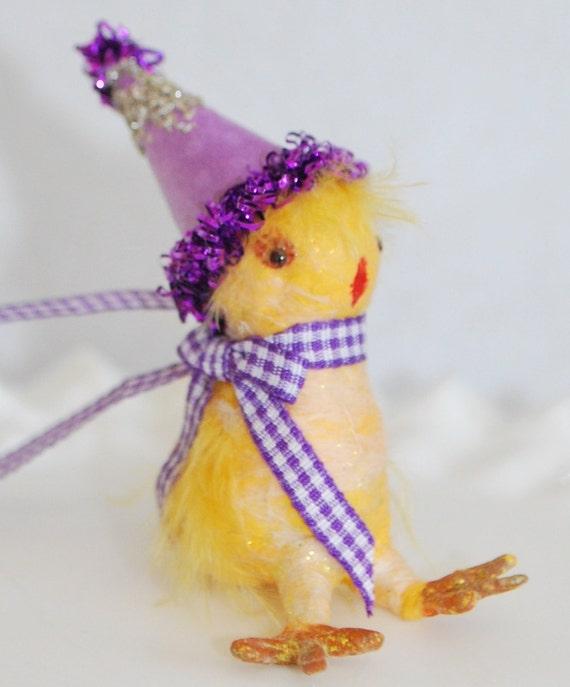 Spun Cotton Easter Chick  ornament OOAK vintage craft '' My little Chickadee''
