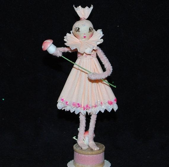 Spun cotton chenille wee little springtime sprite vintage inspired original ooak figure