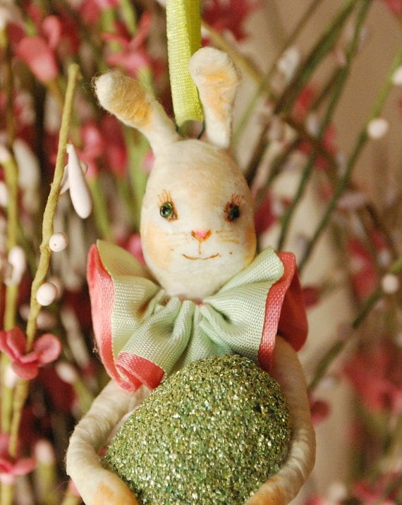 Spun cotton feather tree bunny ornament by jejemae OOAK