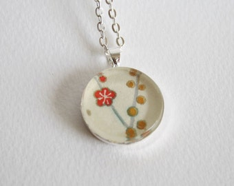 Yellow and red chiyogami necklace