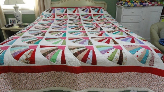 Vintage Fan Quilt 84 x 94 hand quilted