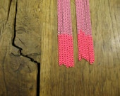 Powder Pink Ombre Tassel Earrings with Neon Pink Tips