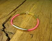 Neon Pink Tribal Bracelet in Antique Gold Plating with Gorgeous Tube and Tribal Beads