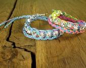 "13"" Rainbow Neon Double Wrap Braided Cord Crystal Friendship Bracelet"