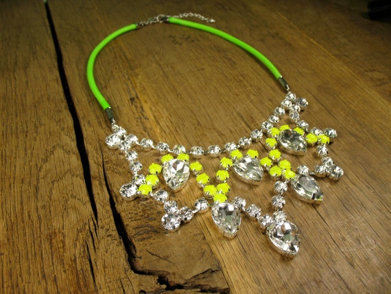 Stunning Princess Crystal Yellow Tear Drop Bib with Neon Cord Necklace