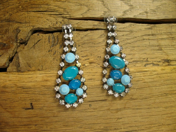 Blue Turquoise Ombre Crystal Earrings in Hematite Gunmetal with Clear Stone Accents