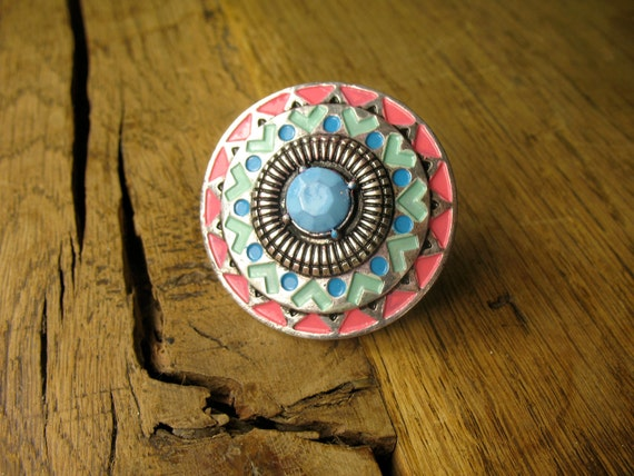 Turquoise, Peach, Blue and Mint Green Tribal Pastel Shield Ring in Burnished Silver Plating