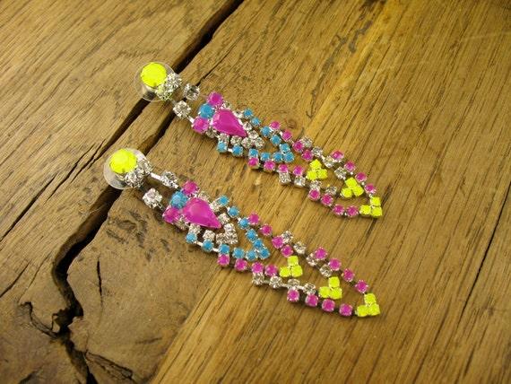 Neon Purple, Turquoise, and Neon Yellow Chevron Drop Earrings