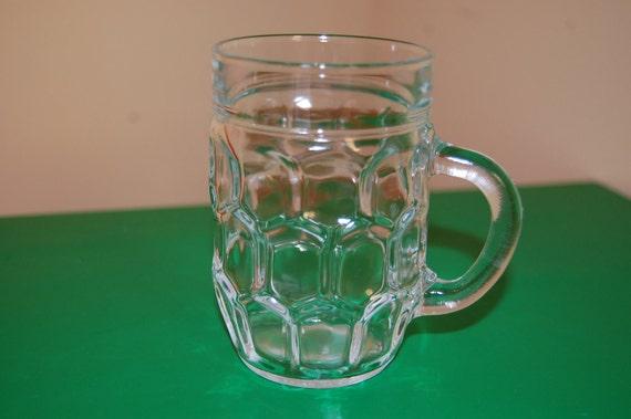 Retro Vintage 8oz. Glass Mugs (2) - Honeycomb Thumbprint Pattern by Reims of France - RARE