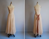vintage full length evening dress / 1930s / champagne buff / organdy / extra small